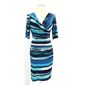 Connected Apparel Ocean Wave Midi Dress